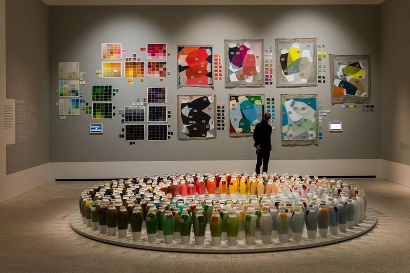 Breathing Colour by Hella Jongerius at the Design Museum, with the Coloured Vases installation in the foreground.