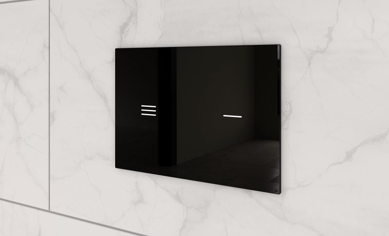 Symfo flush plate in black tempered glass by Italian design studio Palomba Serafini Associati for Ideal Standard.