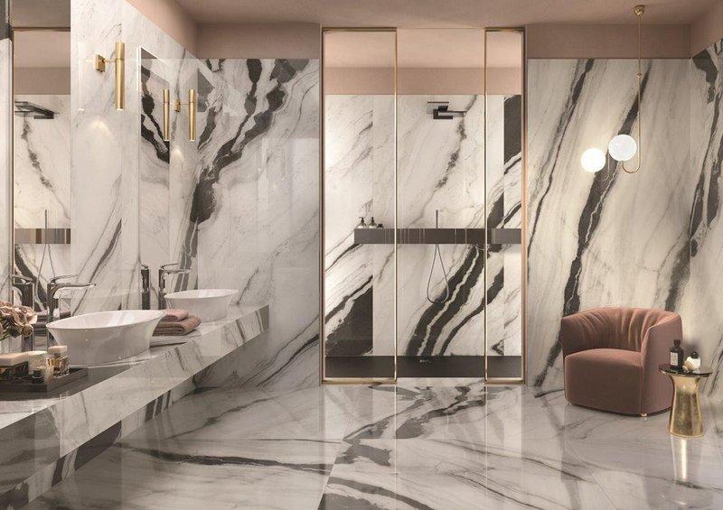 RAK Ceramics' Panda Marble Mega-Slab large-format porcelain tiles: Bold patterns with elegant veins that remodel walls, floors and countertops.
