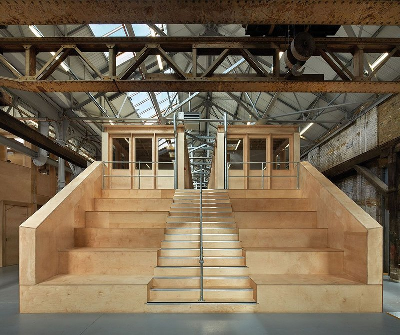 Bleacher seating forms the focus of the reinvented Millwall Ironworks.