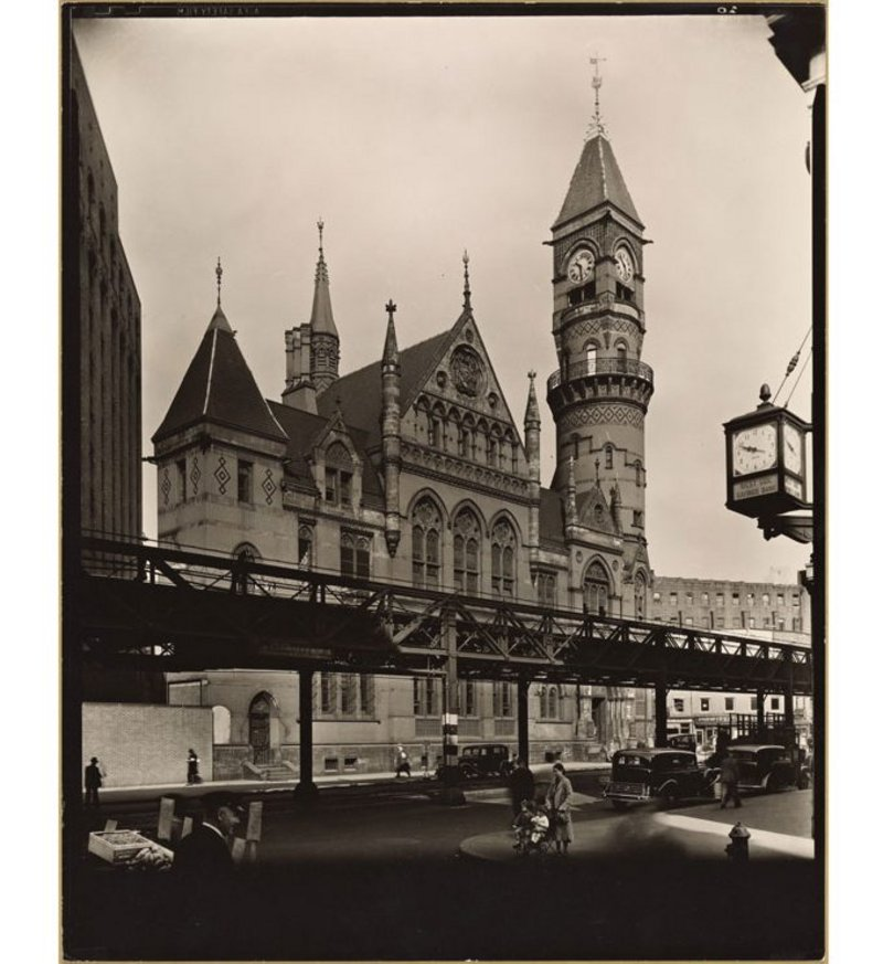 Jefferson Market Court, whose clocks Gayle was instrumental in saving. Credit Berenice Abbott, 1935 - New York Public Library