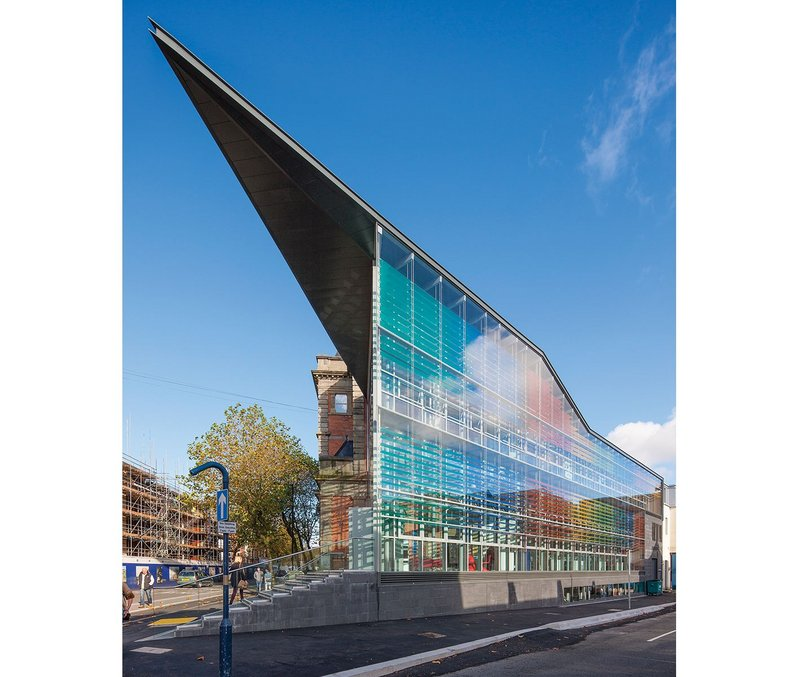 The new facade creates a dramatic and insulated wall to the south and the city's Pleasant Street.