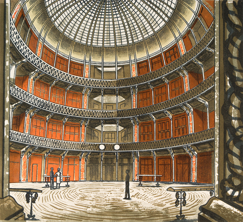 Edward Bawden (1903—1989) The Coal Exchange, 1963. ©The Edward Bawden Estate. Courtesy of the Trustees of the Cecil Higgins Art Gallery (The Higgins Bedford).
