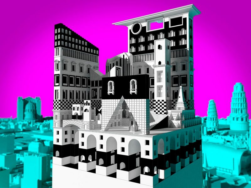 Adam Nathaniel Furman, Picciriddu's Tower, The Roman Singularity project, Rome Prize Residency, 2014–15. Hyper-postmodern rendition of classical and baroque influences.