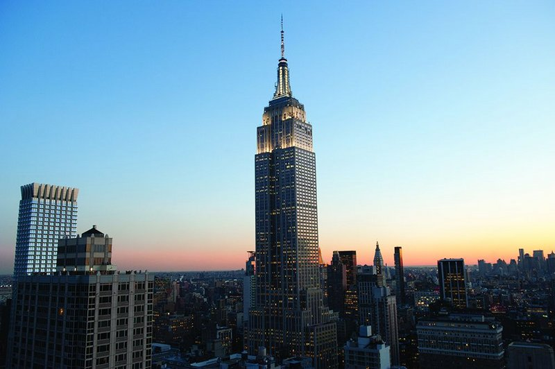 The Empire State building retains its iconic form on the New York skyline.