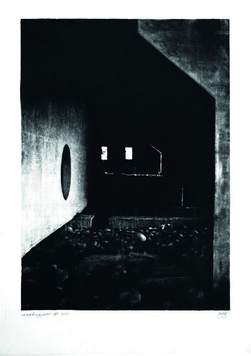 The most film noir-ish of all our entries, Jonathan Gibb's graphite technique is intensely evocative, for example in 'Undercroft II'.