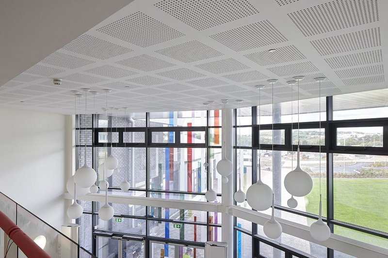 Pregybel by Siniat installed in a school atrium.