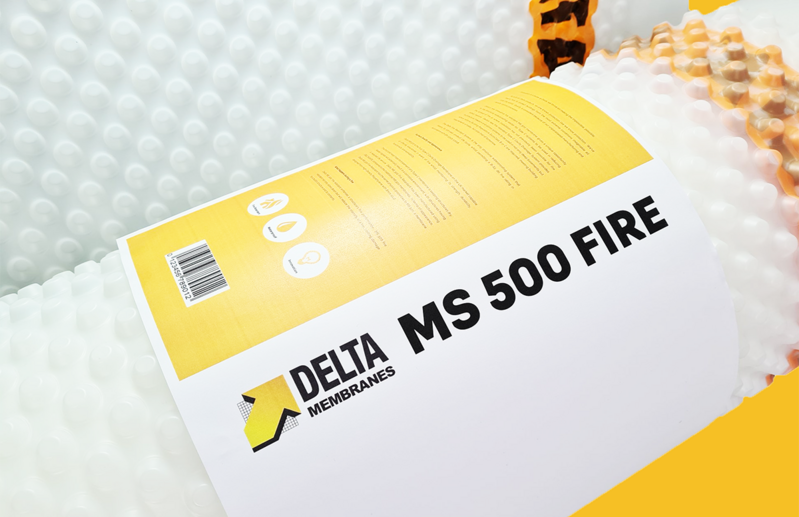Delta MS 500 Fire retardant membrane is a cavity drain membrane used for waterproofing on walls, floors and vaulted ceilings, above and below ground over a contaminated or damp background.