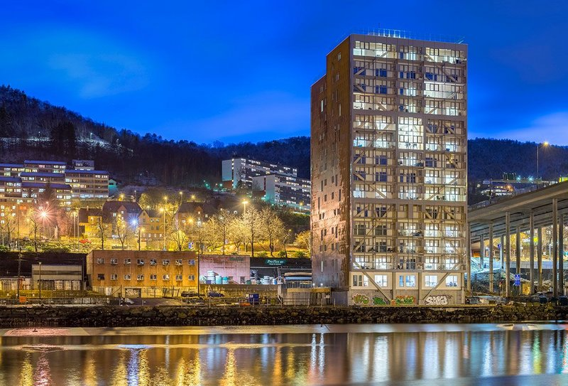 Treet ('The Tree'), in Bergen, Norway, designed by Artec AS with a loadbearing glulam structure.