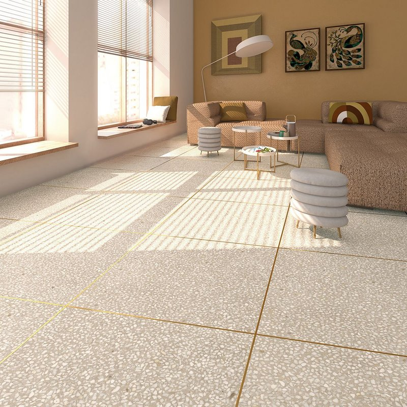 Portofino by Vives - porcelain wall and floor tiles in a terrazzo effect with metallic edges in four colours and four formats. Frost resistant, suitable for interior and exterior use. www.vives.com