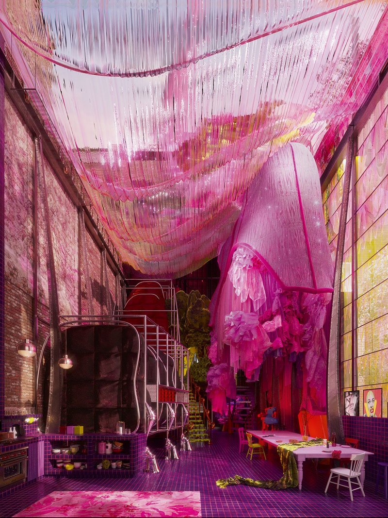 The Kitchen. Digital drawing,  750mm × 1000mm.