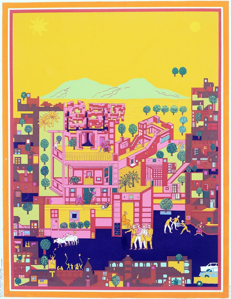 Balkrishna Doshi's concept drawing of his urban masterplan for Vidhyadhar Naga in Jaipur, Rajasthan, India (1980). For this 1980s new town just outside Jaipur, this drawing by B.V. Doshi alludes cleverly to the latter's reputation as 'the pink city'.