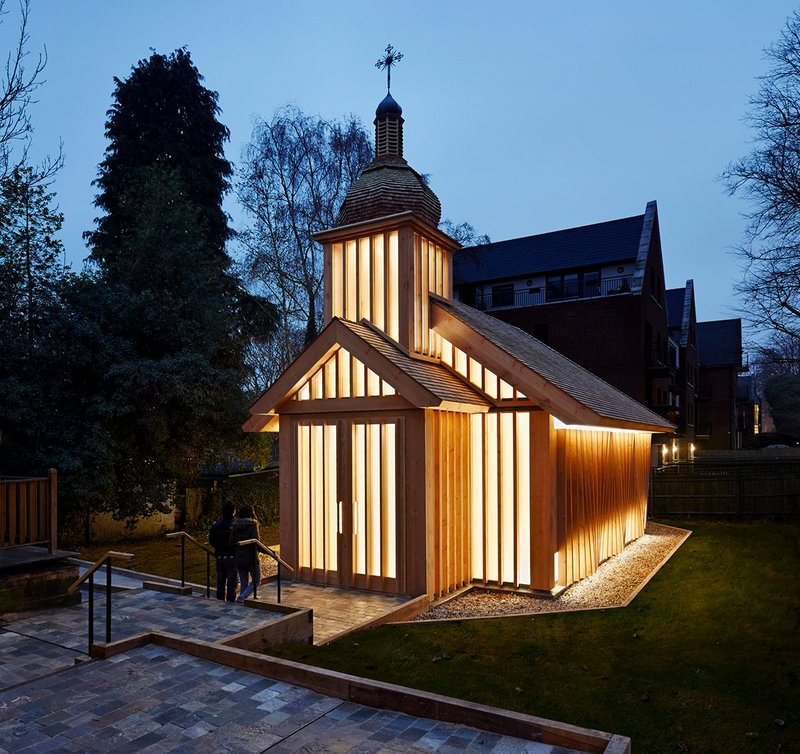 After dark, the chapel becomes a glowing beacon when internally lit.