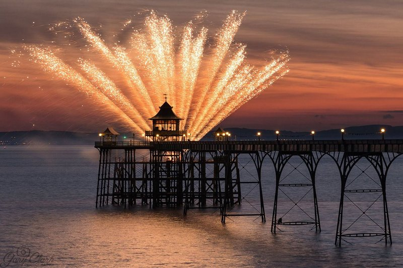 Fireworks celebrate the completion of a long, successful project at Clevedon Pier.