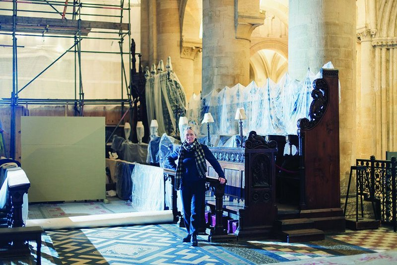 Protective custody: Kennedy among the choir stalls of Christ Church Cathedral, Oxford.