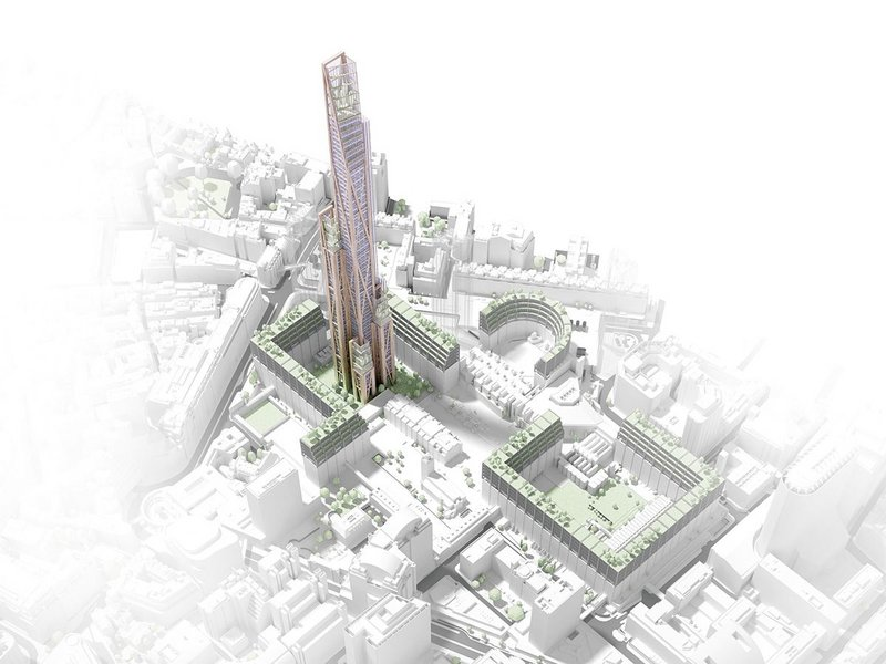 How a supertall timber building might look in London: 80-storey Oakwood Tower in the City designed by PLP architecture.