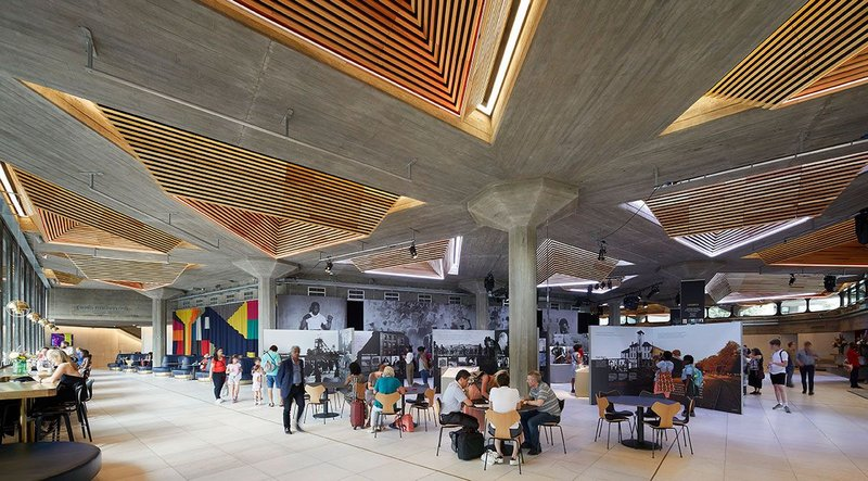 The Queen Elizabeth Hall and Purcell Room have undergone a thorough overhaul as part of Feilden Clegg Bradley Studios' £35 million refurbishment of London's Southbank Centre. The revamped foyer includes redesigned pyramid ceiling lights.