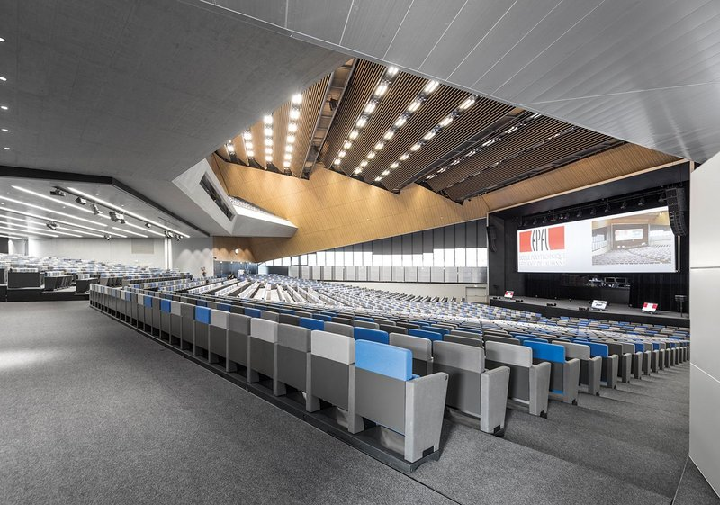 The Swiss Tech hall with seating deployed.