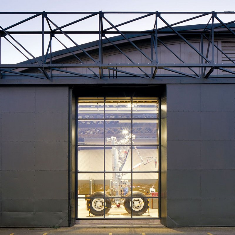 Outsized Airbus landing gear takes pride of place behind the hangar doors at the entrance