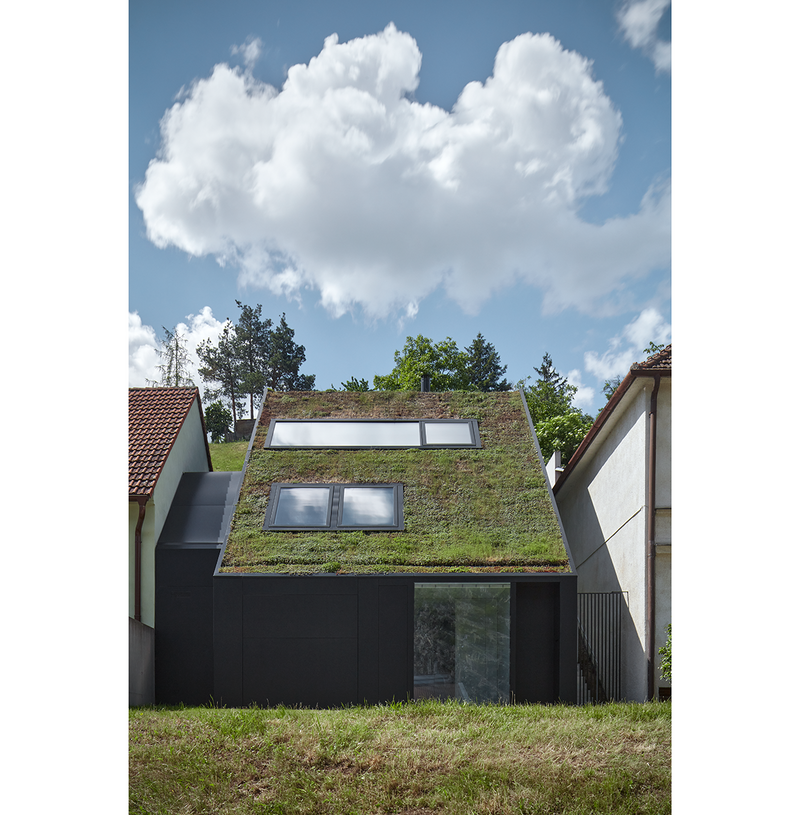 The green sloping roof differentiates the house from its neighbours.
