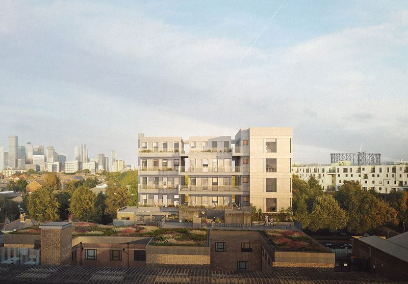 The 15 dual aspect homes for the Bermondsey rooftop are manufactured offsite in the UK.