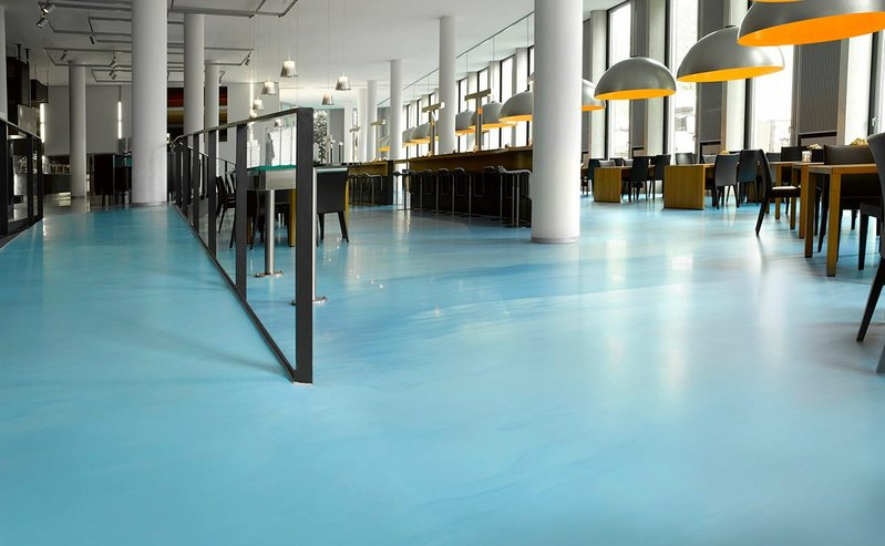 Arturo resin flooring: Two or more colours can be combined to create pearlescent and swirl effects.