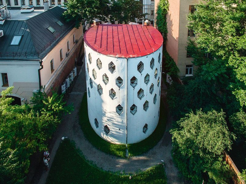 Melnikov House after restoration – view of the north cylinder from above.
