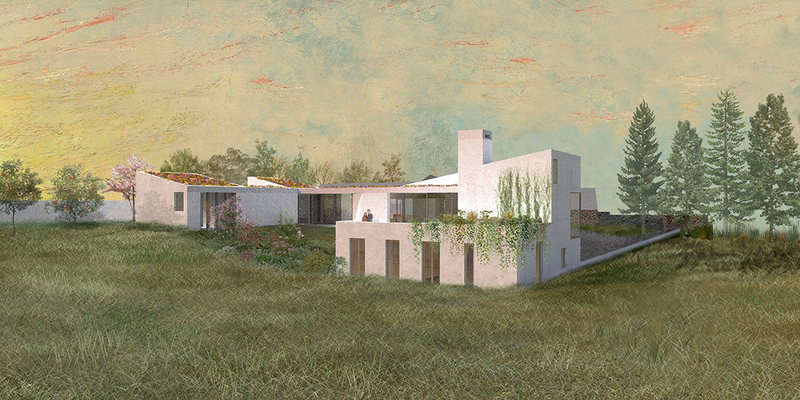 The house at Dungannon is inspired by the clustered buildings of Irish vernacular architecture. Murray and McMahon see parallels with southern European architecture in its courtyards and single room plans.