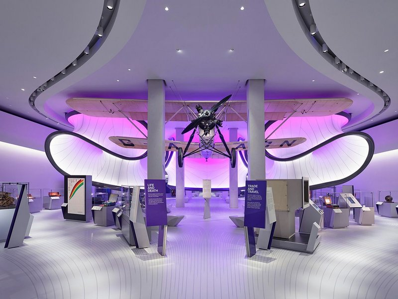 Mathematics: The Winton Gallery at the Science Museum designed by Zaha Hadid Architects. The exhibition design is inspired by the aerodynamic research behind the design of the 1929 Handley Page 'Gugnunc' aeroplane.