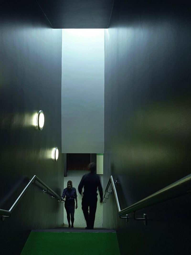 Dark and light in the staircase. Rooflights are used to good, and sometimes dramatic, effect.