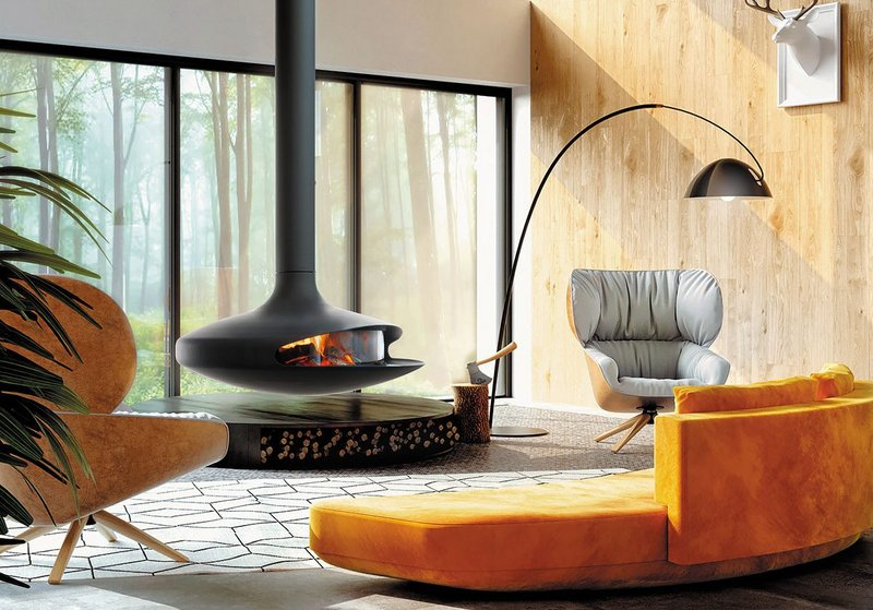 The Glazed Gyrofocus: A central glazed wood fireplace with suspended and pivoting hearth.