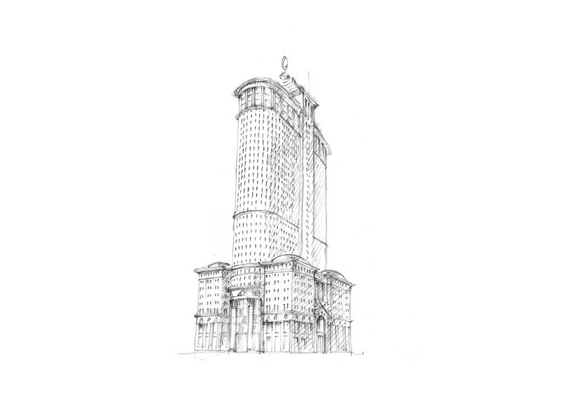 Adam's sketch for a new neoclassical New York skyscraper.