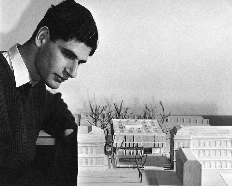The 28 year old Paul Koralek with an early model of his 1961 competition winning Berkeley Library for Trinity College Dublin. Soon he was to radically change the design.