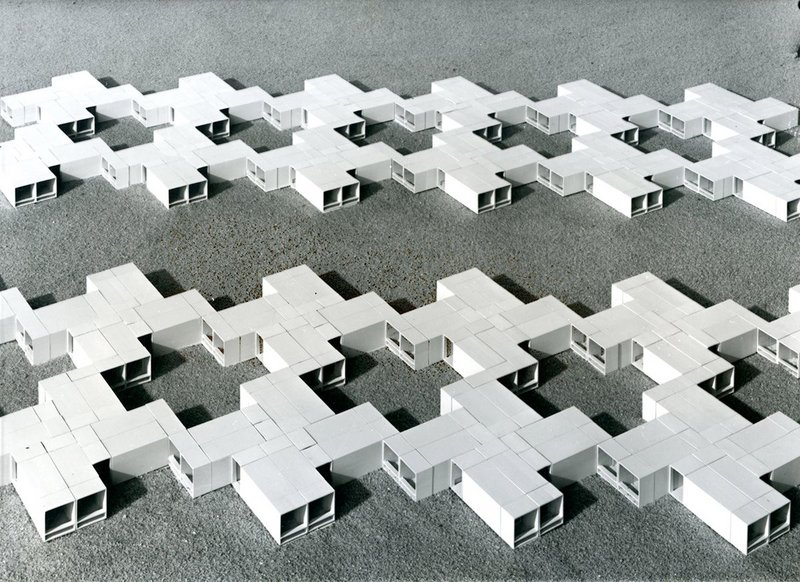 Space units for residential buildings, designed by industrialised building students Bernd Meurer and Willi Ramstein, 1961. Instructor: Herbert Ohl. 