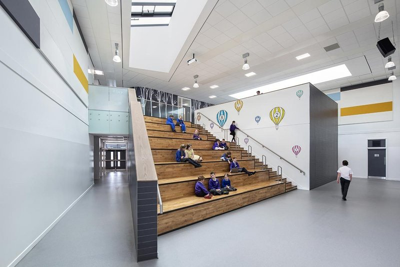 Two types of mineral tiles were used at the new Balloch Campus in West Dunbartonshire.