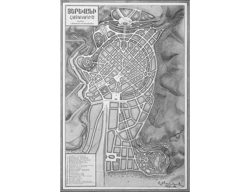 Proposed masterplan for Yerevan by Alexander Tamanyan, 1924.