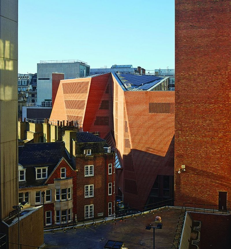 Screened brickwork at O'Donnell + Tuomey's Saw Swee Hock student centre at the LSE.