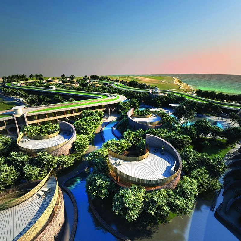 A landscape-led design for a holiday resort in Malta, with snaking perimeter building.