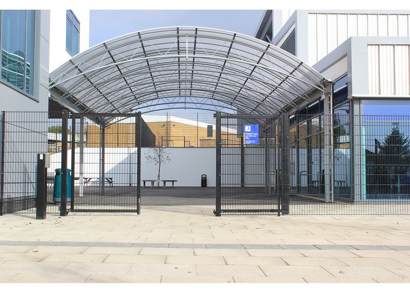 Euroguard double leaf gates in the new perimeter fencing at Northwood School, London, manufactured by Jacksons Fencing.