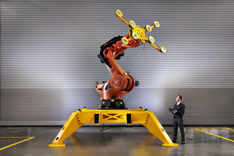 The Manufacturing Technology Centre's industrial robot assembles offsite building modules.
