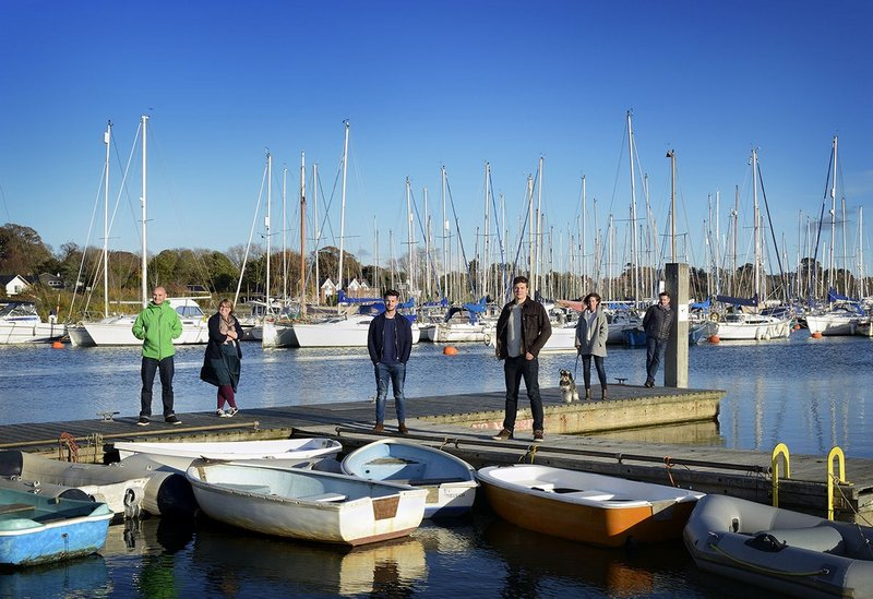 The PAD Studio team in the harbour at Lymington.
