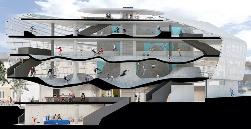 Guy Hollaway Architects' F51 skate centre in Folkestone where undulating floors are par for the course.