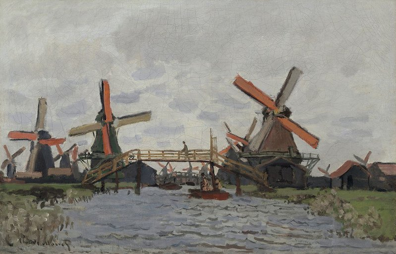 Claude Monet, Windmills near Zaandam (Moulins près Zaandam), 1871. Van Gogh Museum, Amsterdam (purchased with support from the BankGiro Loterij, the Nationaal Fonds Kunstbezit, the Ministry of Education, Culture and Science, the Mondriaan Fund, the Rembrandt Association, the VSB Foundation and the Vincent van Gogh Foundation) (S0503S2001).