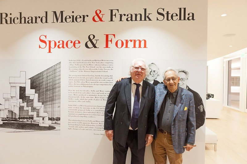 Richard Meier (left) and Frank Stella (right) at their exhibition Richard Meier & Frank Stella Space & Form, at the Surf Club in Surfside, Florida. Courtesy Richard Meier & Partners Architects.