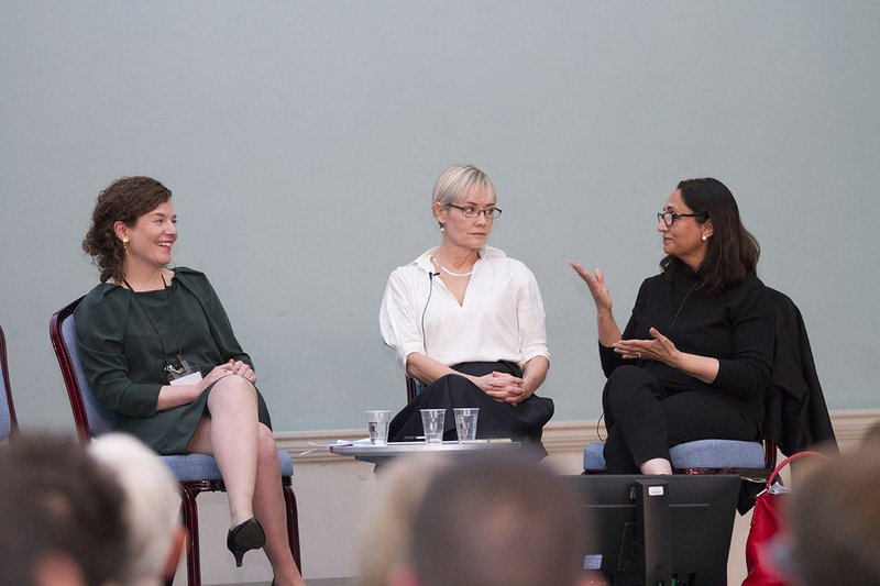 Discussing Preserving Utopia, from left: Henrietta Billings, director of SAVE, Alison Brookes, director of Alison Brooks Architects and Tanvir Hassan, deputy chair of Donald Insall Associates.