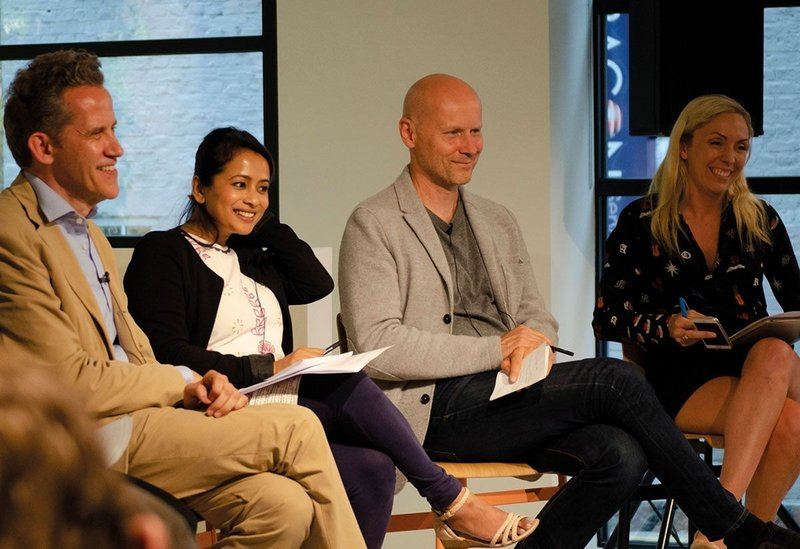 Right to left: Stephen Richards, Tumpa Husna Yasmin Fellows, Michael Pawlyn and Holly Porter.