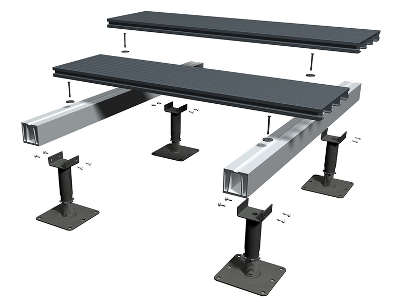 RynoAluTerrace: a non-combustible aluminium decking system for balconies and terraces.