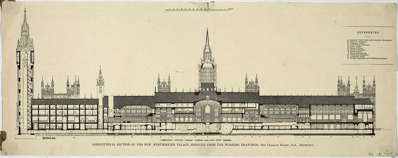 1850 section through the Palace of Westminster designed by Charles Barry and Augustus Pugin.
