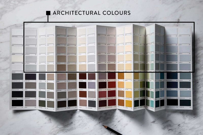 Paint & Paper Library's Architectural Colours are made up of 19 shades in five numbered gradations of tone. 85 Original Colours, including five bright whites, can also be introduced into decorating schemes.