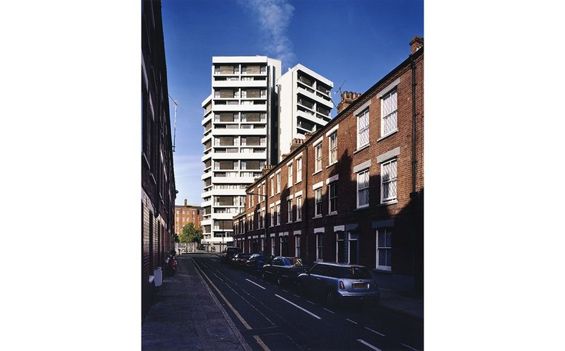 Caption: Denys Lasdun's refurbished Keeling House in Bethnal Green.